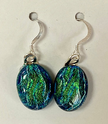 Green Ridged Dichroic Oval earrings