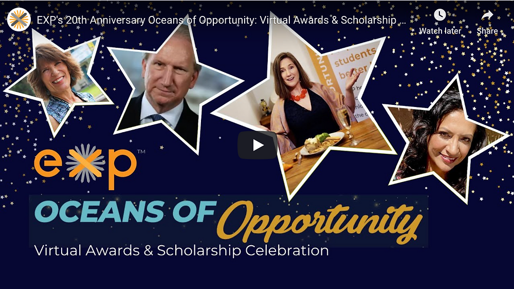 A Screenshot of the Youtube Thumbnail for EXP's Oceans of Opportunity Gala.