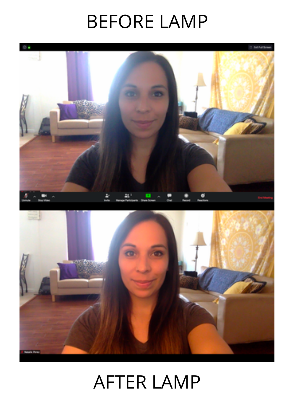 Before and after shot of Natalie's recorded image without a lamp and with a lamp.