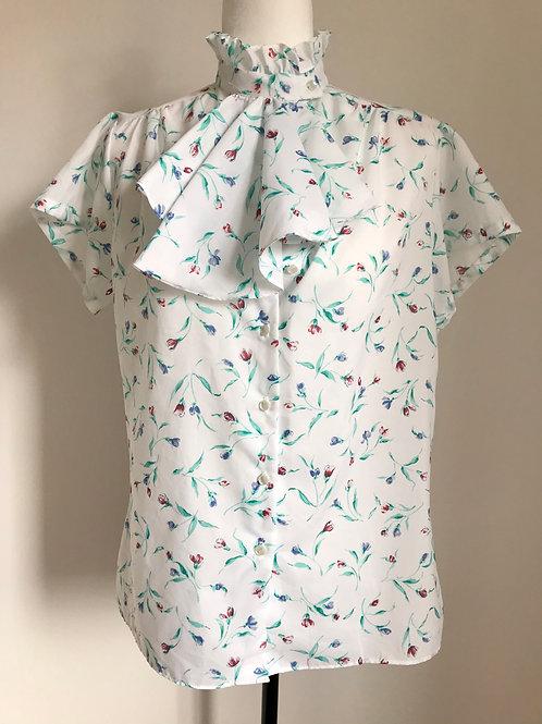 Camisa vintage floral com babado