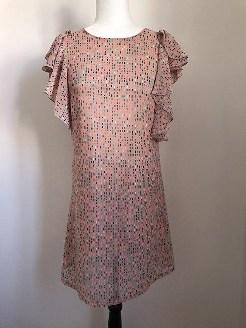 Vestido padrão colorido e manga com babados