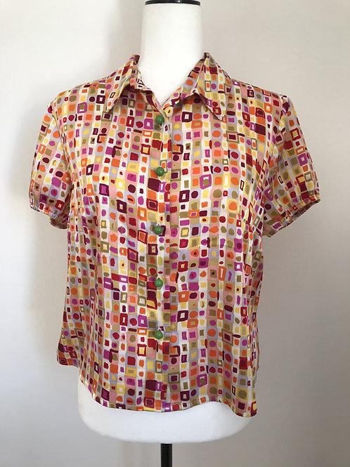 Camisa vintage quadrados coloridos