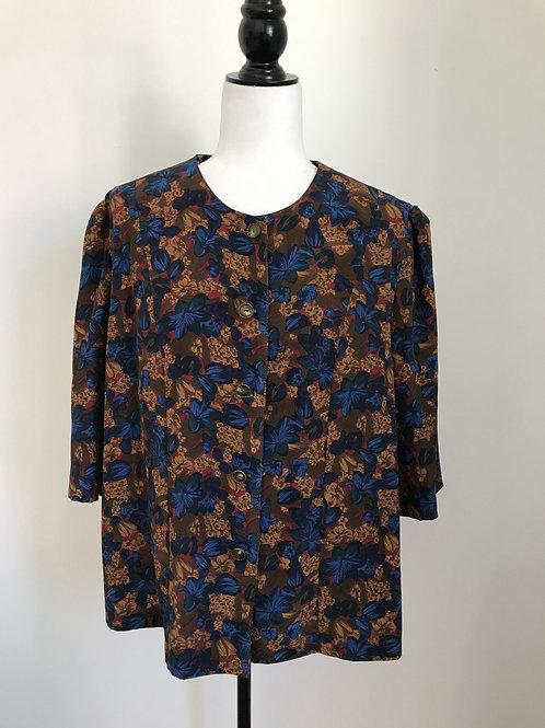 Camisa estampado floral azul e marrom
