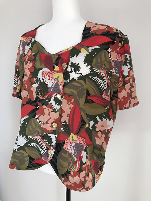 Camisa vintage floral colorida
