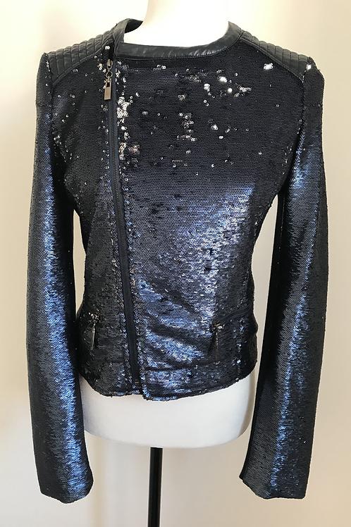 Jaqueta azul com lantejoulas