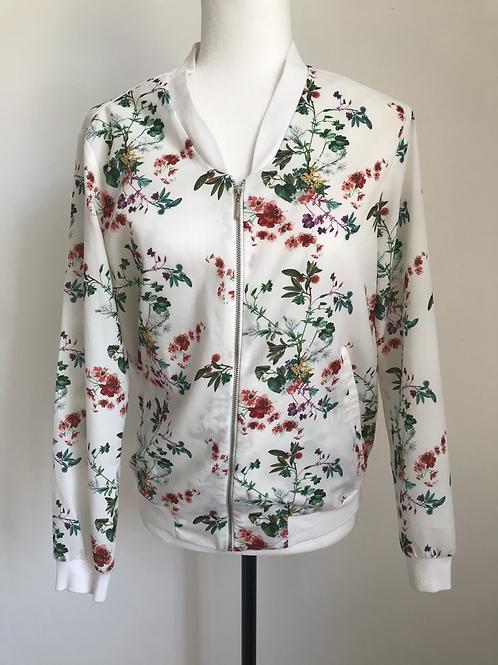 Jaqueta branca com estampado floral