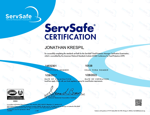 Servsafe National Restaurant Association Certification Private Chef Turk and Caicos Jonathan Krespil