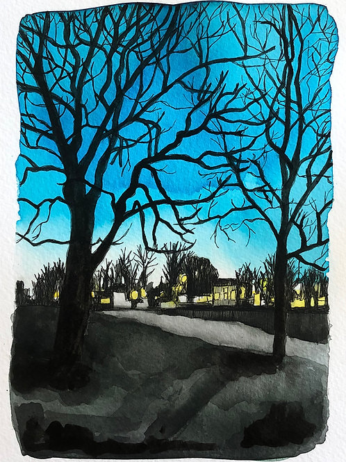 Dark Park - original drawing with watercolour, framed