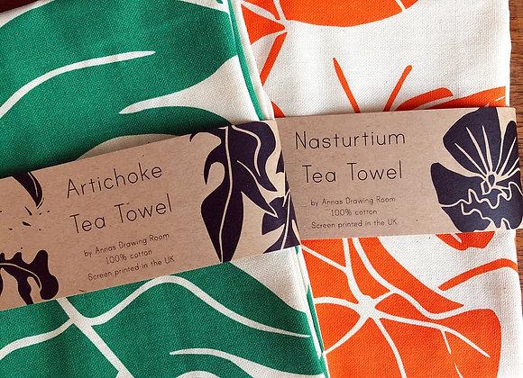 Pair of Tea Towels: Nasturtium and Artichoke