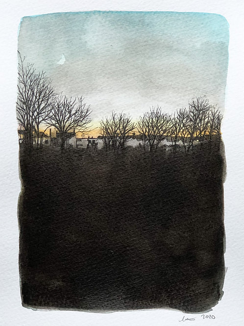 Walking the Dog in the Dark, original drawing, framed