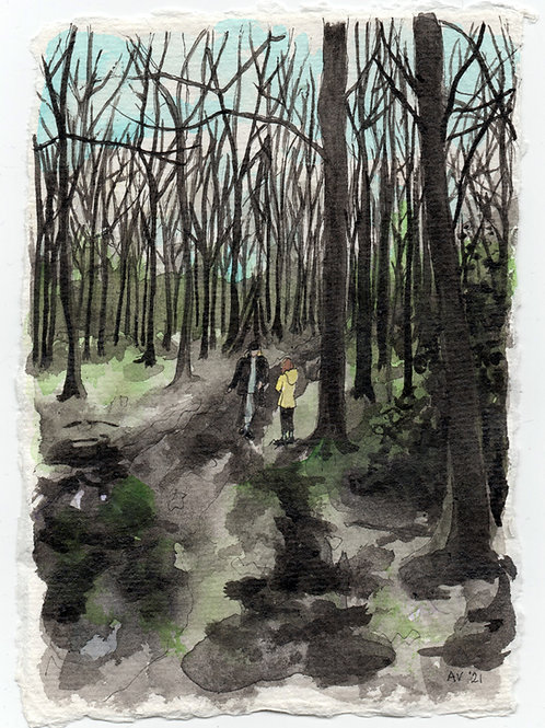 Angmering Woods in Winter - original drawing with watercolour, unframed