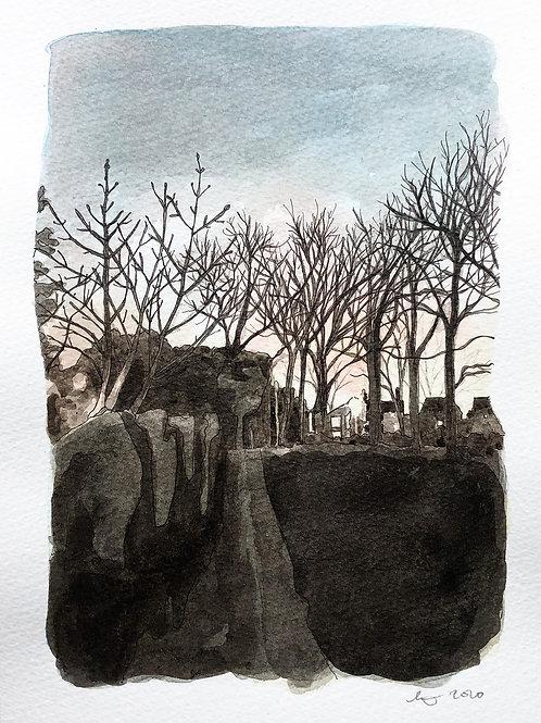 Park at Dusk, original drawing, framed