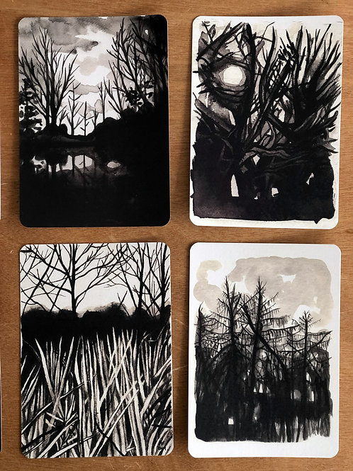 Set of 8 Postcards - Monster Trees