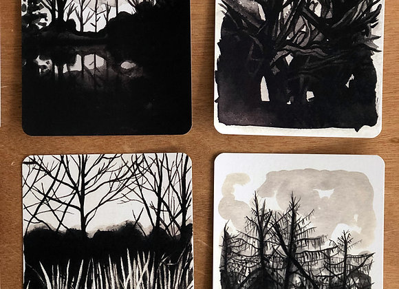 Set of 8 Postcards - Monster Trees