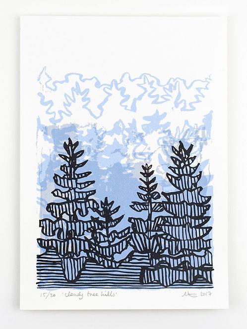 Cloudy Tree Hills - Screen Print