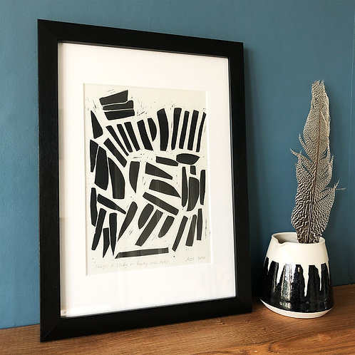 Chips: A Study in Forty-One Parts - Linocut Print
