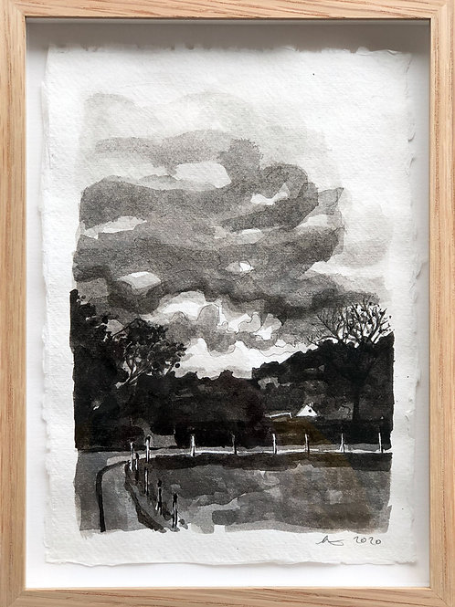 Walking in Coniston, ink on paper, framed