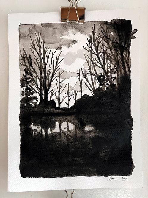 Dark Lake - Ink on Paper