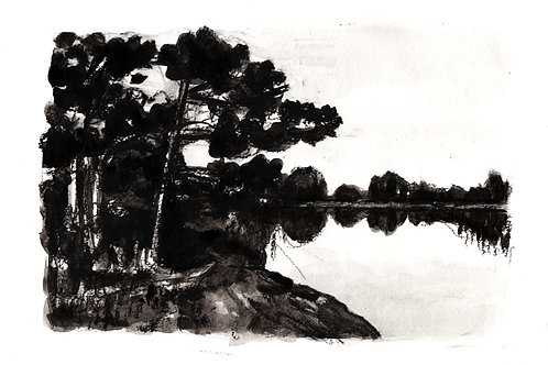 Lahti (inlet) - Charcoal and Ink on Paper