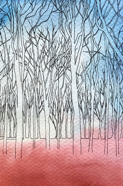 Ghost Trees, Angmering - original drawing with watercolour, framed