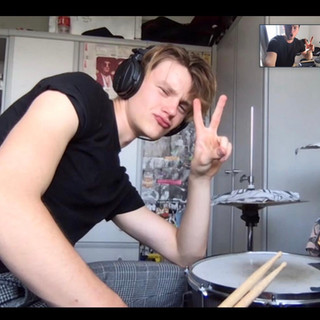 Zoom drumming tuition from online drum tutor