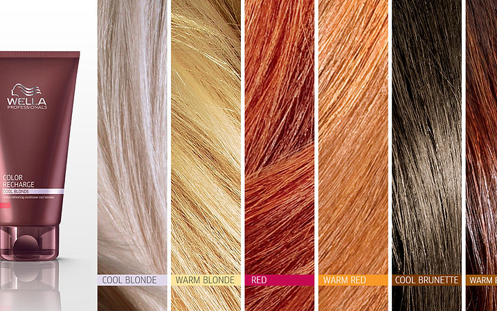 Palette de couleurs Wella, disponible au Salon de coiffur Nathalie D