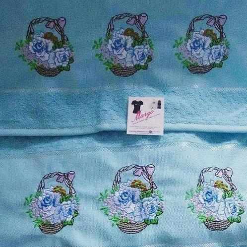 Toalha de banho e rosto azul Cesto de flores