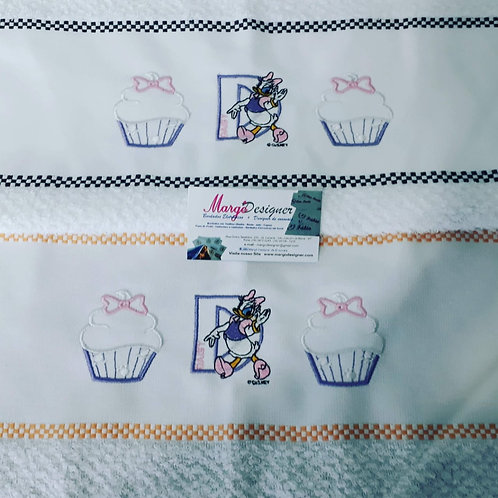 Kit 2 Panos de prato atoalhado bordado Cupcake Margarida Daisy