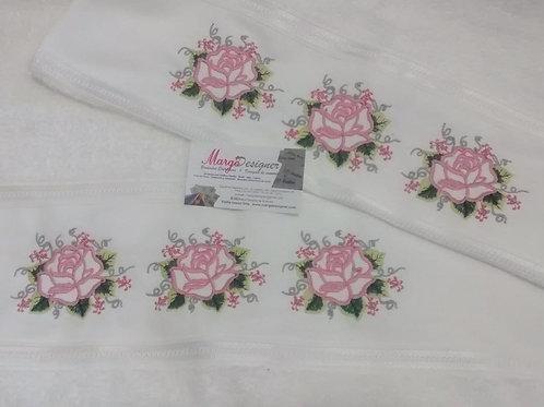 Toalha de banho e rosto palha Trio Rosas