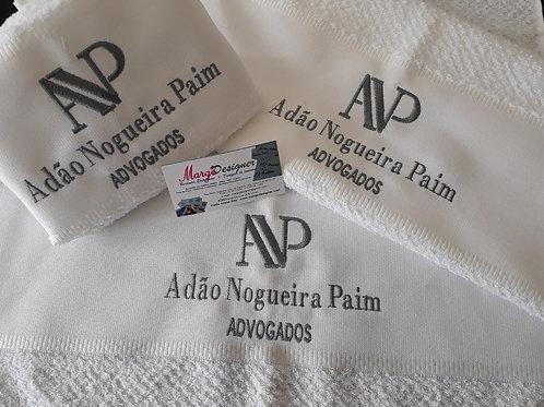 Kit 3 Panos de prato atoalhado bordado com a logo da sua empresa