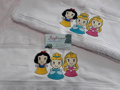 Toalha de banho e rosto rosa Trio Princesas