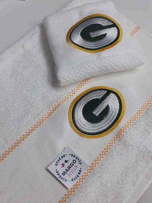 Kit 2 panos de prato atoalhado bordado Green Bay Packers