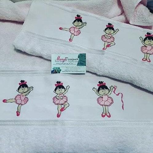 Toalha de banho e rosto rosa Bailarina