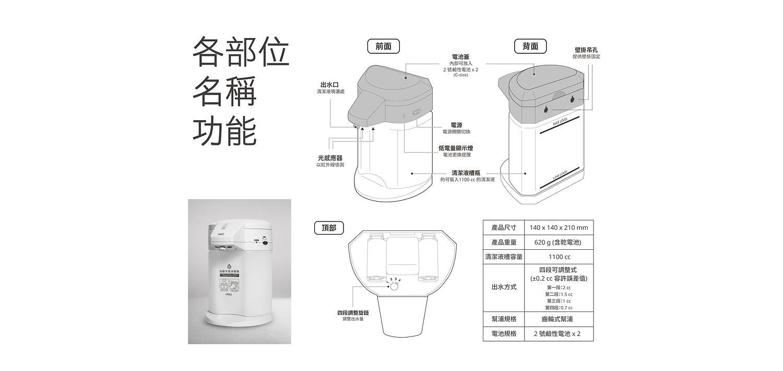 hm2 自動手指消毒器 各部位名稱功能