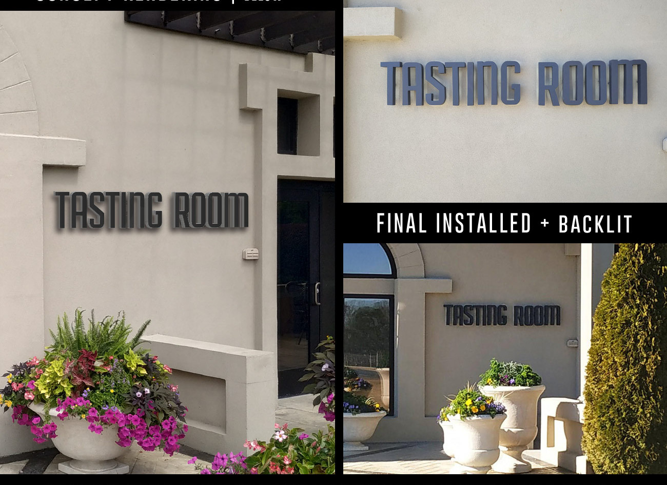 Exterior Sign Rendering Compared with Final Install