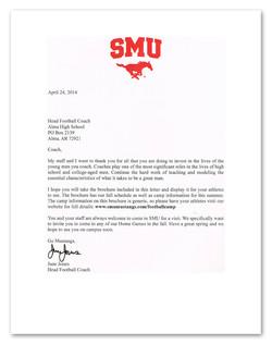 SMU Head Coach Intro Letter