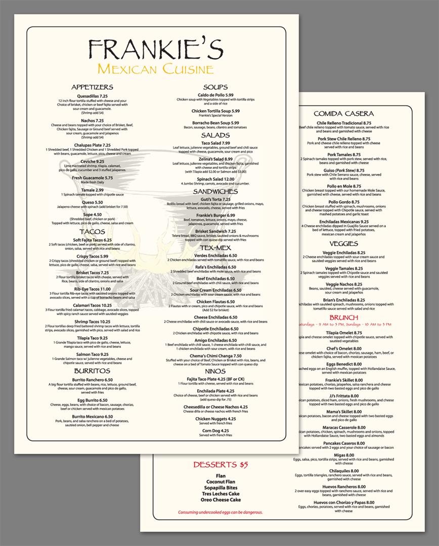 Frankie's Restaurant Menu
