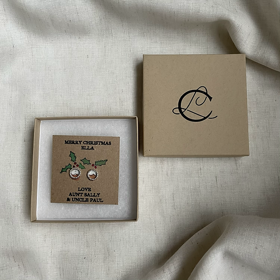 Christmas Pudding Recycled Silver Studs