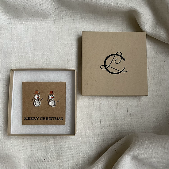 Snowman Recycled Silver Studs