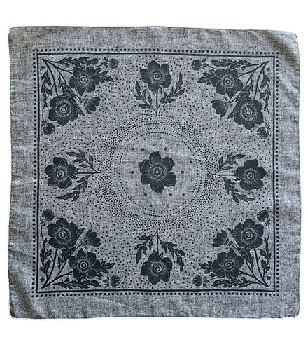 Organic Cotton + Hemp Bandana - Anemone // Grey Chambray + Black Ink