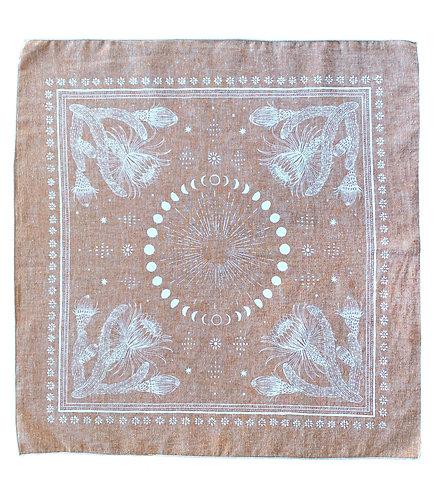 Organic Cotton + Hemp Bandana - Cactus + Moons // Rust Chambray