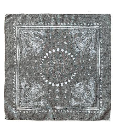 Organic Cotton + Hemp Bandana - Cactus + Moons // Grey Chambray