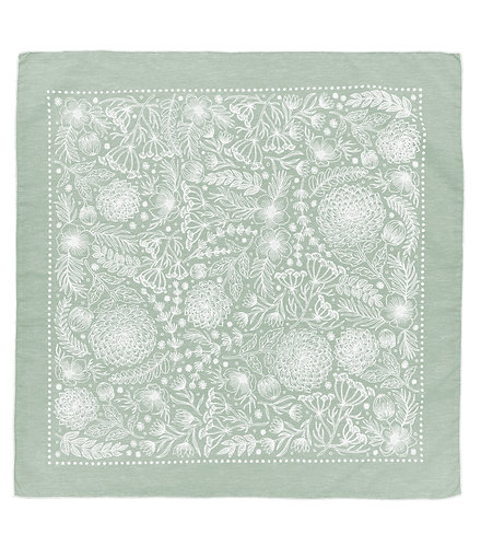 Organic Cotton + Hemp Bandana - Garden // Sage Chambray - White Ink