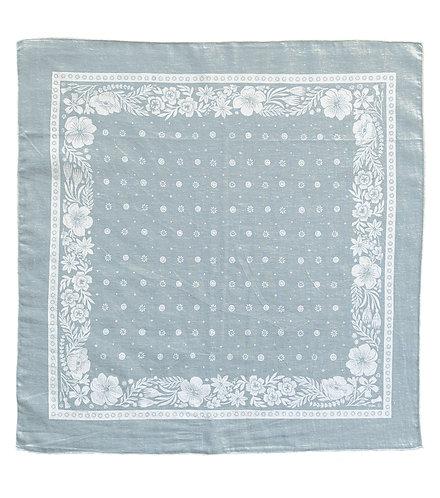 Organic Cotton + Hemp Bandana - Folk Floral // Ice Blue + White Ink