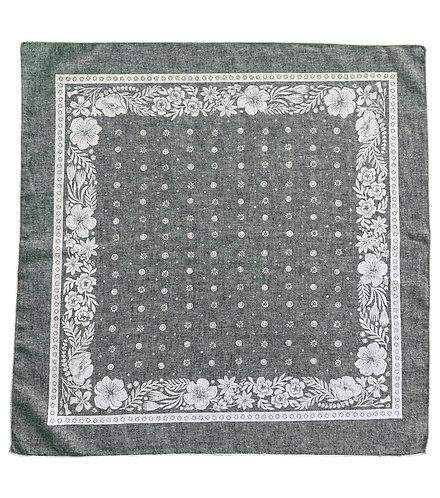 Organic Cotton + Hemp Bandana - Folk Floral // Grey Chambray