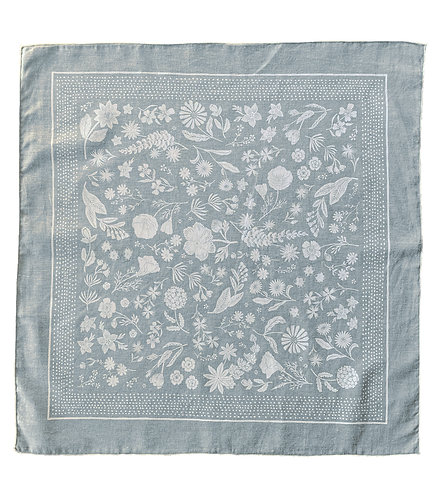 Organic Cotton + Hemp Bandana - Wildflower // Ice Blue with White Ink