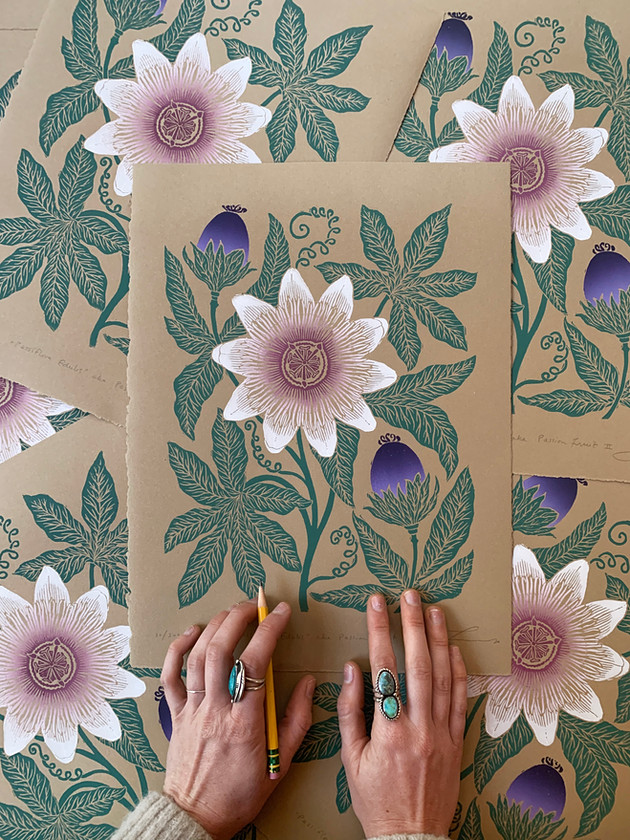 Passion Fruit prints on kraft paper