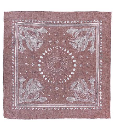 Organic Cotton + Hemp Bandana - Cacti + Moons // Ruby Chambray