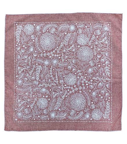 Organic Cotton + Hemp Bandana - Garden // Ruby Chambray
