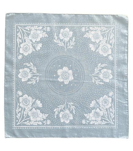 Organic Cotton + Hemp Bandana - Anemone // Ice Blue + White Ink